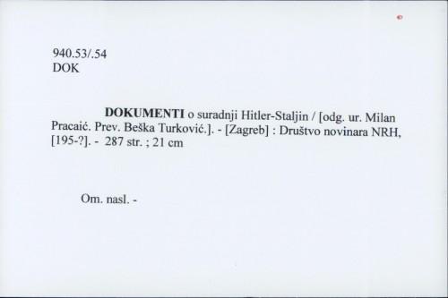 Dokumenti o suradnji Hitler- Staljin / Milan Pracaić