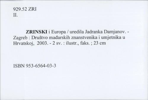 Zrinski i Europa / uredila Jadranka Damjanov.