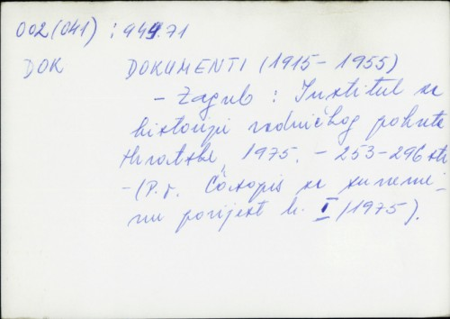 Dokumenti (1915-1955) /