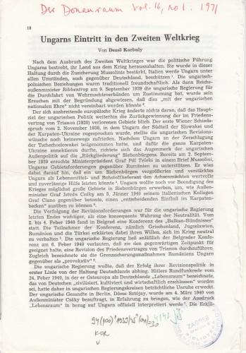 Ungars Eintritt in den Zweiten Weltkrieg / Dezso Korbuly.