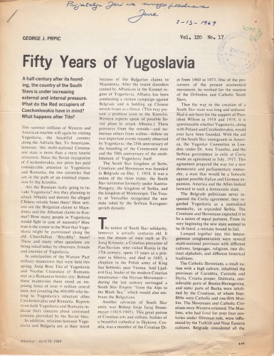 Fifty years of Yugoslavia / George J. Prpić.
