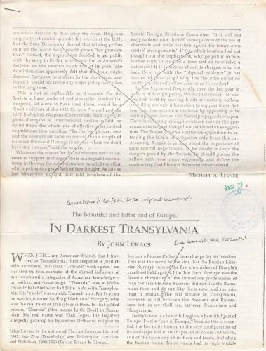 In darkest Transylvania : the beautiful and bitter end of Europe / John Lukacs.