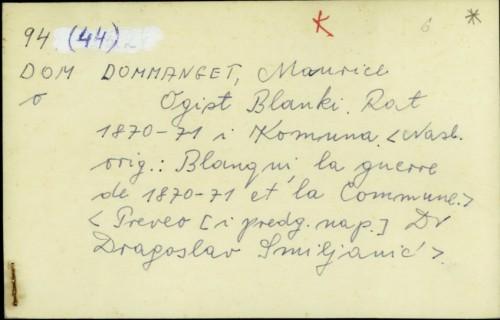 Ogist Blanki : rat 1870-1871 i Komuna / Maurice Dommanget