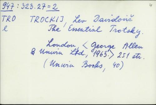 The Essential Trotsky / Lev D. Trockij