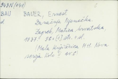 Današnja Njemačka / Ernest Bauer