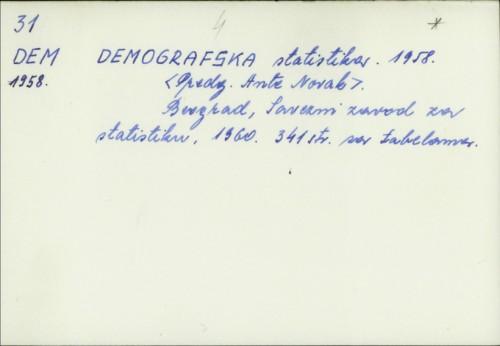 Demografska statistika : 1958. / [predgovor Ante Novak]