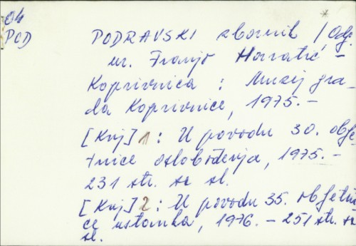 Podravski zbornik / [urednik Robert Čimin].