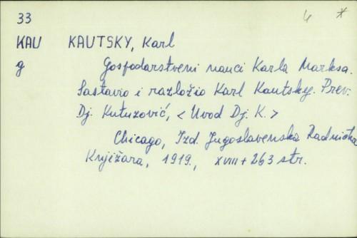 Gospodarstveni nauci Karla Marksa / Karl Kautsky