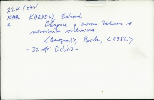 Ekspoze o novom zakonu o narodnim odborima / Edvard Kardelj