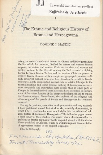 The Ethnic and Religious History of Bosnia and Hercegovina / Dominik J. Mandić.