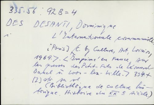 L'internationale communiste / Dominique Desanti