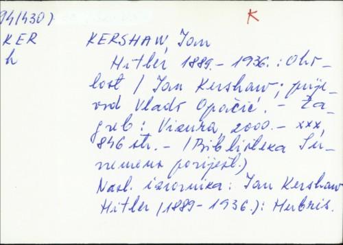 Hitler 1889.-1936. : oholost / Ian Kershaw
