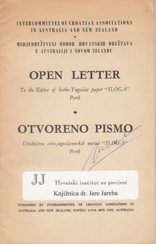 Open letter : to the editor of Serbo-Yugoslav paper