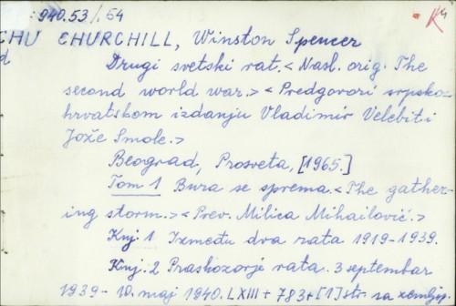 Drugi svetski rat / Winston Spencer Churchill ; predgovor Jože Smole