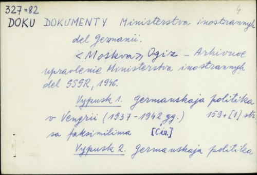 Dokumenty Ministerstva inostrannyh del Germanii /