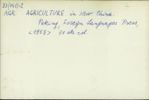 Agriculture in New China / Foreign Languages Press