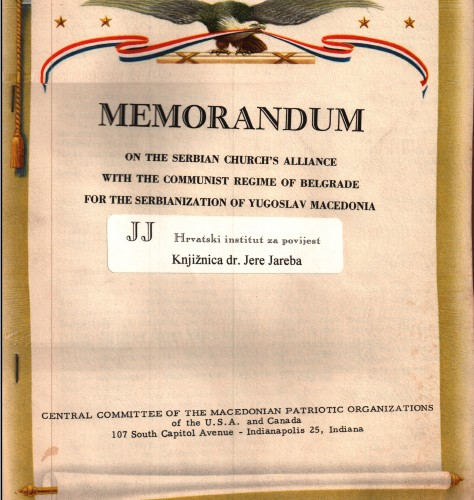 Memorandum on the Serbian Church's alliance with the communist regime of Belgrade for the serbianization of Yugoslav Macedonia.