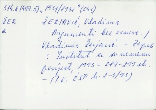 Argumenti bez osnove Vladimir Žerjavić