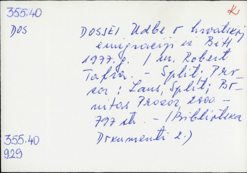 Dosjei Udbe o hrvatskoj emigraciji iz BiH 1977. g. /