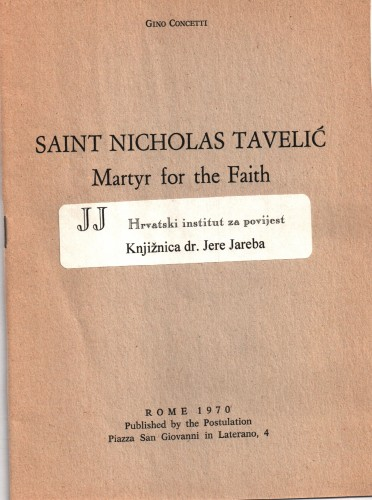 Saint Nicholas Tavelić : martyr for the faith / Gino Concetti.