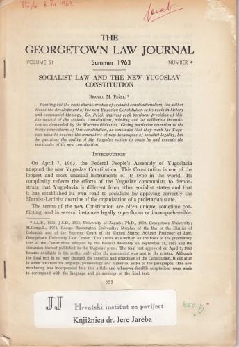 Socialist law and the new Yugloslav constitution / Branko M. Pešelj.