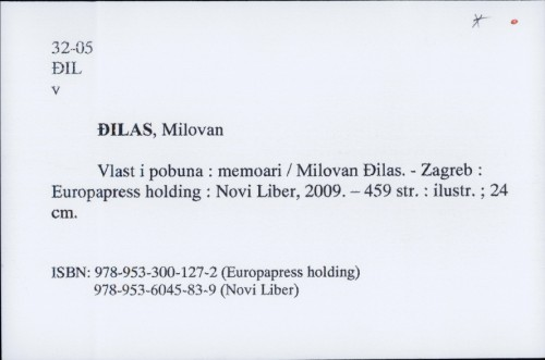 Vlast i pobuna : memoari / Milovan Đilas
