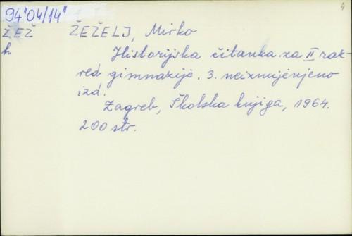 Historijska čitanka za II. razred gimnazije Mirko Žeželj
