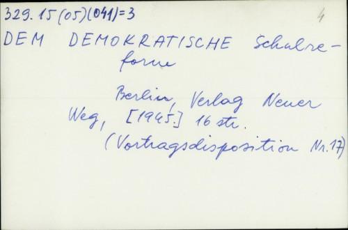 Demokratische Schulreform /