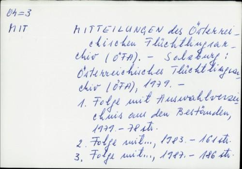 Mitteilungen des Österreichischen Flüchtlinge Archiv (OFA) /