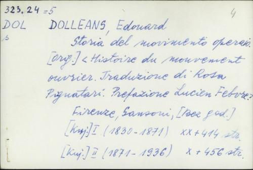 Storia del movimento operaio / Édouard Dolléans
