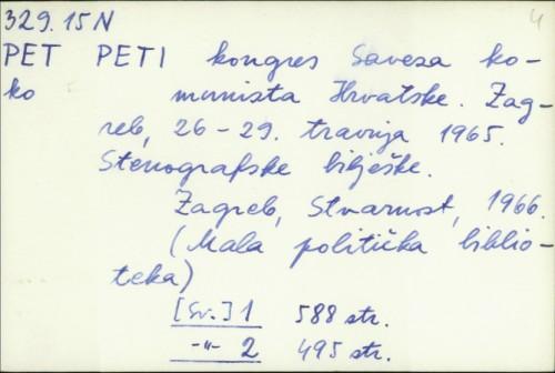 Peti kongres Saveza komunista Hrvatske : Zagreb, 26-29. travnja 1965. ; Stenografske bilješke /