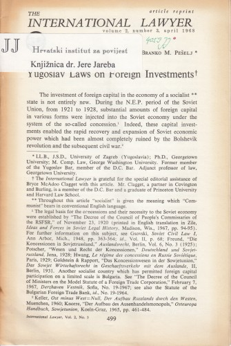 Yugoslav Laws on Foreign Investments / Branko M. Pešelj.