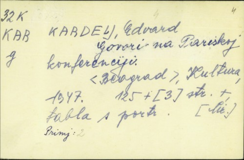 Govori na Pariskoj konferenciji / Edvard Kardelj.