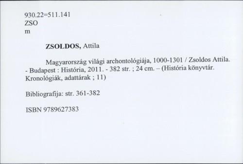 Magyarország világi archontológiája 1000-1301