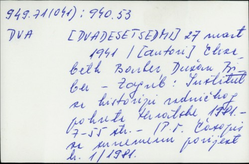 27. mart 1941. / Elizabeth Bonker