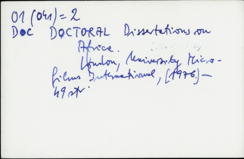 Doctoral Dissertations on Africa /