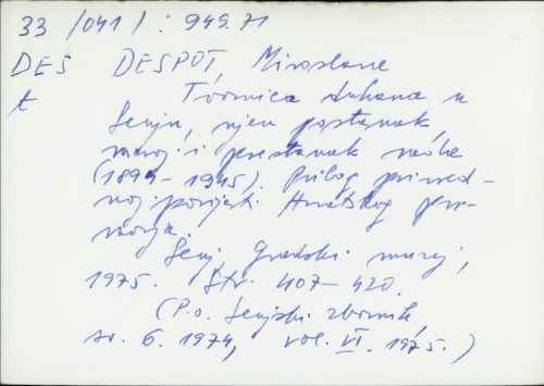 Tvornica duhana u Senju, njen postanak, razvoj i prestanak rada (1894-1945) : prilog privrednoj povijesti Hrvatskog primorja / Miroslava Despot