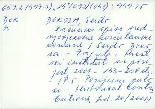 Računski spisi srednjovjekovne korčulanske komune / Serđo Dokoza