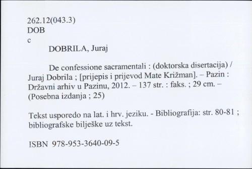 De confessione sacramentali : (doktorska disertacija) / Juraj Dobrila
