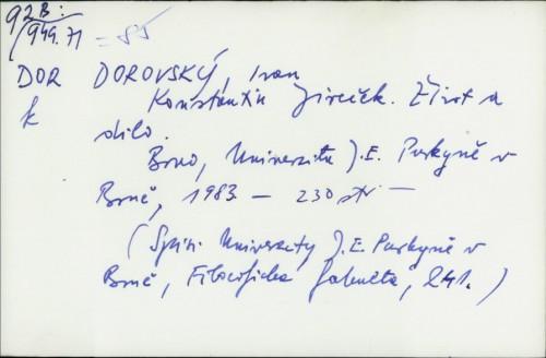 Konstantin Jireček : život a dilo / Ivan Dorovský