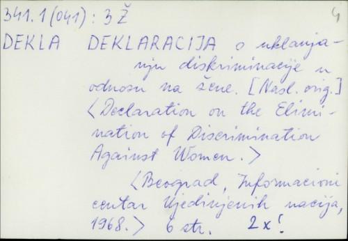 Deklaracija o uklanjanju diskriminacije u odnosu na žene /