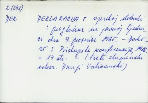 Deklaracija o vjerskoj slobodi : proglašena na javnoj Sjednici dne 7. prosinca 1965. /