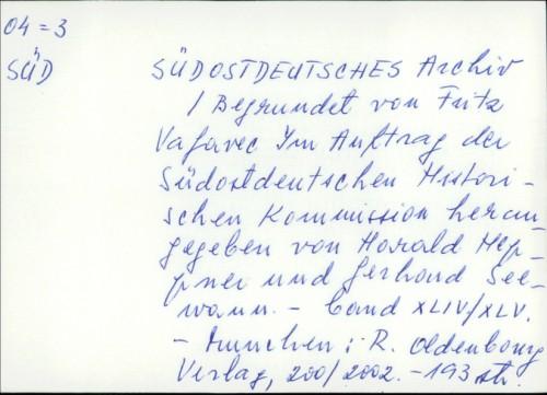 Südostdeutsches Archiv /