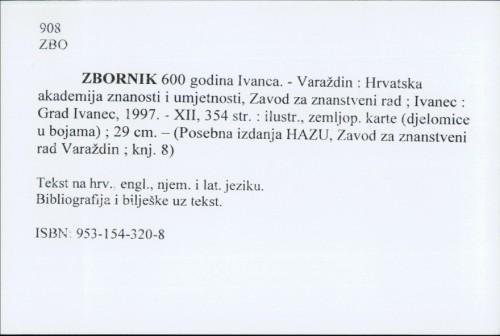Zbornik 600 godina Ivanca.