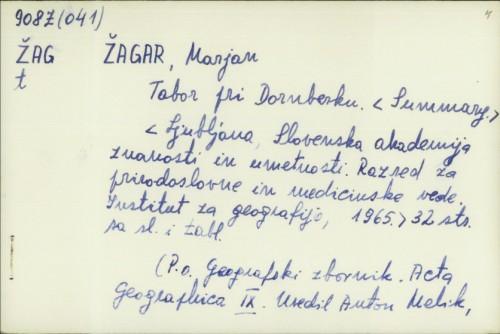 Tabor pri Dornberku / Marjan Žagar.