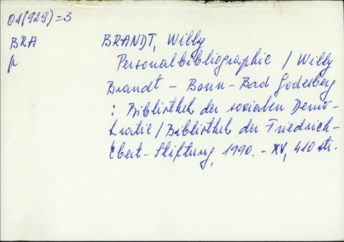 Personalbibliographie / Willy Brandt