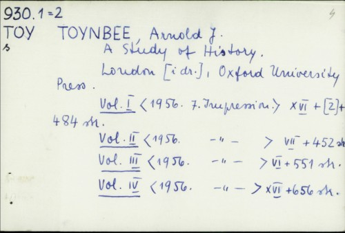 A study of history / Arnold J. Toynbee