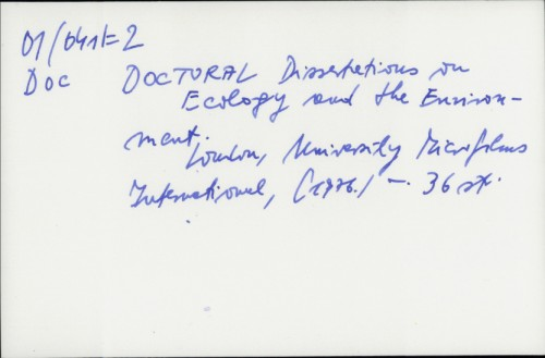 Doctoral Dissertations on Ecology and the Environment /