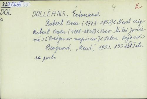 Robert Oven : 1771-1858. / Édouard Dolléans