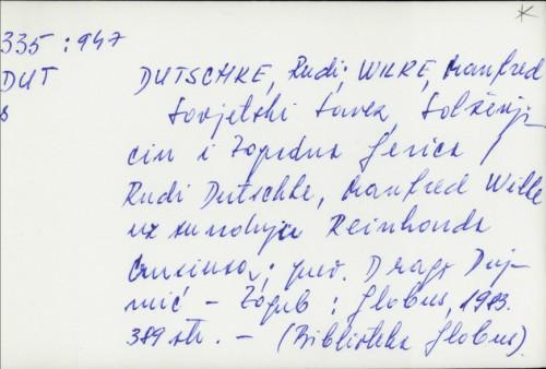Sovjetski savez, Solženjicin i zapadna ljevica / [priredili] Rudi Dutschke i Manfred Wilke uz suradnju Reinharda Crusiusa ; prilozi J.-M. Chauviera ... [et al.]